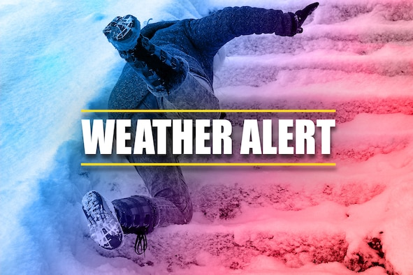 Image of person falling on snow-covered stairs with the words Weather Alert over the top of the image.