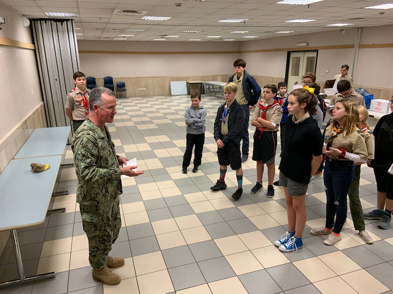 Rear Adm. Zirkle, Scouts Support Sailors aboard USS Abraham Lincoln