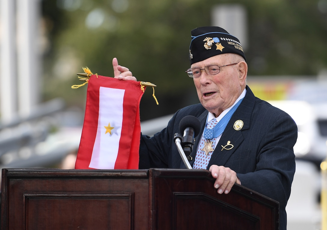 "U.S. Marine retired Warrant Officer Hershel ""Woody"" Williams, World War II Medal of Honor recipient, delivers remarks during the Gold Star Families Memorial Monument dedication ceremony at Guice Veterans Memorial Park in Biloxi, Mississippi, Nov. 23, 2019. The monument honors families of service men and women who sacrificed their lives while serving in the military. (U.S. Air Force photo by Kemberly Groue)"