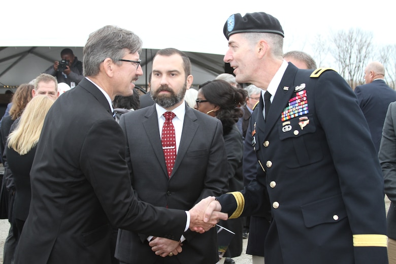 Dave Walsh, left, contracting officer, was recognized by the Commanding General of the Northwestern Division, U.S. Army Corps of Engineers, Brig. Gen. Pete Helmlinger, after the ceremony for his great work on the project.