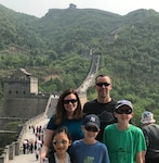 U.S. Army Maj. Jeremiah VanDorsten stands with his family (from left, Andrea, Mae, Loyal and Isaac) atop the Great Wall of China near Beijing May 11, 2019.