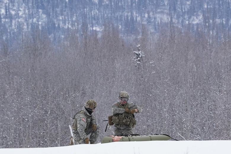 Medics from the 6th Brigade Engineer Battalion (Airborne), 4th Infantry Brigade Combat Team (Airborne), 25th Infantry Division, U.S. Army Alaska, guard a simulated casualty while training with aviators from the Alaska Army National Guard at Neibhur Drop Zone, Nov. 26, 2019, to hone their life-saving and Medevac hoist skills for the paratroopers' upcoming rotation to the Joint Readiness Training Center at Fort Polk, La.