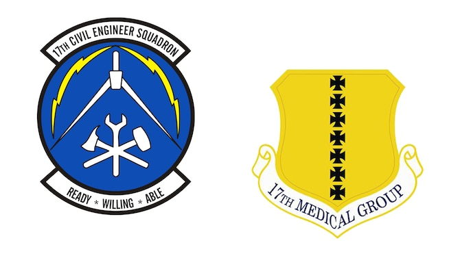 Courtesy graphic of the 17th Civil Engineer Squadron and the 17th Medical Group patches. (Courtesy graphic/Released)