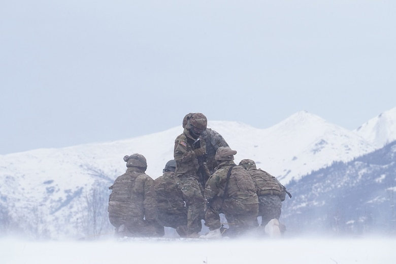 Medics from the 6th Brigade Engineer Battalion (Airborne), 4th Infantry Brigade Combat Team (Airborne), 25th Infantry Division, U.S. Army Alaska, train with aviators from the Alaska Army National Guard at Neibhur Drop Zone, Nov. 26, 2019, to hone their life-saving and Medevac hoist skills for the paratroopers' upcoming rotation to the Joint Readiness Training Center at Fort Polk, La.