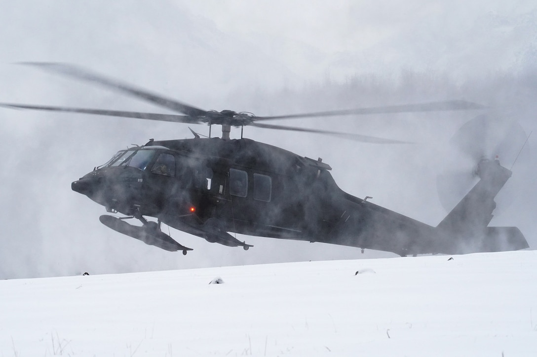 A UH-60 Black Hawk helicopter, and Alaska Army National Guard aviators land on Neibhur Drop Zone, Nov. 26, 2019, while assisting Soldiers of the 6th Brigade Engineer Battalion (Airborne), 4th Infantry Brigade Combat Team (Airborne), 25th Infantry Division, U.S. Army Alaska, honing their life-saving and Medevac hoist skills for the paratroopers' upcoming rotation to the Joint Readiness Training Center at Fort Polk, La.