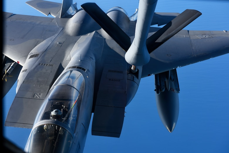 A U.S. Air National Guard F-15C Eagle from the 142nd Fighter Wing, connects with a U.S. Air Force KC-135 Stratotanker from the 92nd Air Refueling Wing during an air refueling training mission over Oregon, Nov. 22, 2019.