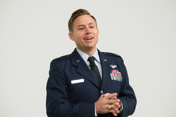 Maj. Jay Burrell Doerfler addressed the participants to his award ceremony at Maxwell Air Force Base's Wood Auditorium, November 18, 2019. The award is presented annually to recognize an Air Force fighter pilot with proven excellence and professionalism in flight, as well as dedication to community service.