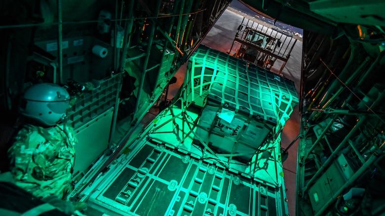 C-130 transports cargo in Iraq