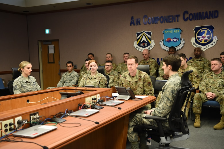 Col. Christopher Russell (center),607 Air Operations Center commander, joins AOC Airmen for a Thanksgiving morale call from President Donald Trump Nov. 29, 2019, at Osan Air Base, Republic of Korea. (U.S. Air Force photo by MSgt Beth Anschutz)