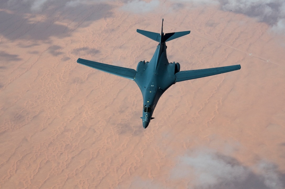 A U.S. Air Force B-1B Lancer departs after conducting aerial refueling with a 28th Expeditionary Air Refueling Squadron KC-135 Stratotanker during a mission in the U.S. Central Command area of operations, Oct. 25, 2019. The B-1B flew directly from its home station of Ellsworth Air Force Base, S.D., demonstrating the U.S. Air Force's ability to rapidly deploy strategic bombers anywhere in the world. (U.S. Air Force photo by Master Sgt. Russ Scalf)