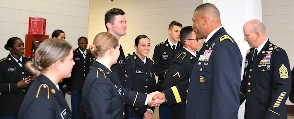 """The MEDCoE command team of Maj. Gen. Patrick D. Sargent and Command Sgt. Maj. William """"Buck"""" O'Neal were on hand to speak to the area families and outgoing Soldiers about the Mission Thanksgiving event, now in existence for more than two decades."""