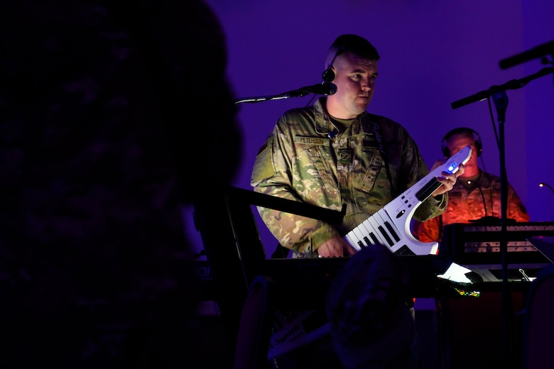 A member of the Band of the West performs during Global Strike Challenge 2019.