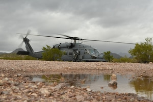 A U.S. Air Force HH-60G Pave Hawk sits at Lost Acres 