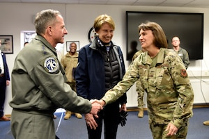 CSAF and SECAF are greeted at the Nuclear University training facility