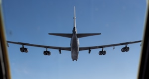 A B-52H Stratofortress flies during an exercise
