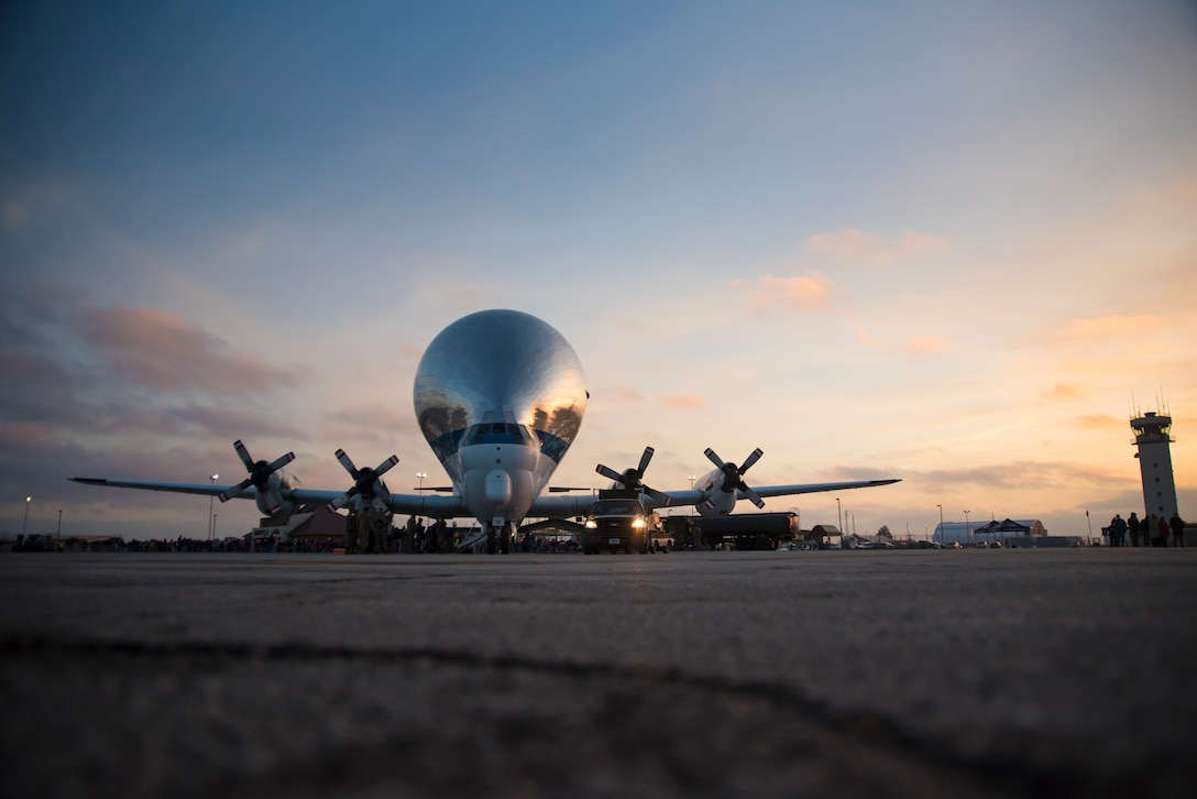 The NASA Super Guppy arrives at the 179th Airlift Wing