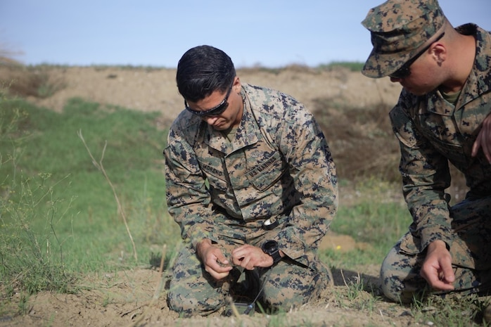 U.S. Marines with Special Purpose Marine Air-Ground Task Force-Crisis Response-Africa 19.2 and 20.1, Marine Forces Europe and Africa, participate in an explosive ordnance disposal exercise on Naval Air Station Sigonella, Italy, Sept. 24, 2019.