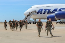 U.S. Marines with Special Purpose Marine Air-Ground Task Force-Crisis Response-Africa 20.1, Marine Forces Europe and Africa, arrive as the last main body workforce on Moron Air Base, Spain, Sept. 23, 2019.