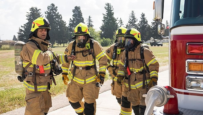 "Firefighters from the 39th Civil Engineer Squadron conduct live-fire training May 8, 2019, at Incirlik Air Base, Turkey. Incirlik Firefighters are slated to celebrate Fire Prevention Week from Oct. 6-12, 2019 and this year's theme is ""Not Every Hero Wears a Cape. Plan and Practice Your Escape."" (U.S. Air Force photo by Staff Sgt. Ceaira Tinsley)"