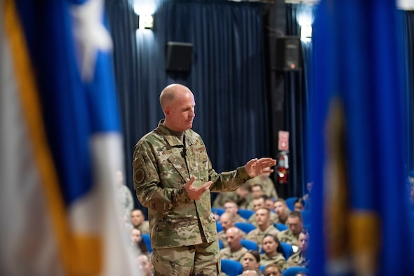 Gen. Wilson speaks to Airmen