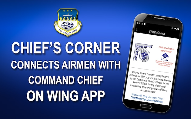 Chief's Corner connects Airmen with Command Chief on Wing App.