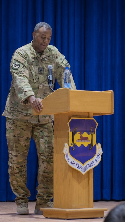 Lt. Col. Adam Blanchard, 43rd Expeditionary Electronic Combat Squadron commander, speaks during the 43rd EECS inactivation ceremony at Ali Al Salem Air Base, Kuwait, Sept. 30, 2019. Blanchard praised his team for contributing to various missions within the U.S. Central Command area of responsibility. (U.S. Air Force photo by Tech. Sgt. Daniel Martinez)