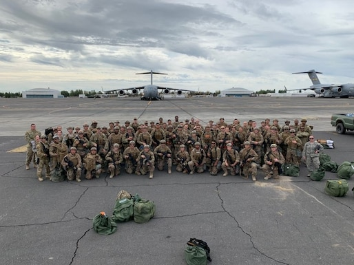 Devil Raiders from the 621st Contingency Response Wing pose for a group photo during Exercise Mobility Guardian Sept. 16, 2019, at Moses Lake, located west of Fairchild Air Force Base, Washington. Exercise Mobility Guardian is Air Mobility Command's premier, large-scale mobility exercise. (Courtesy photo)