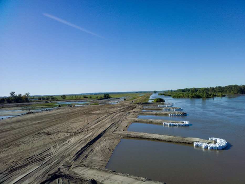 Multiple groins are placed on L-575 to divert the river flow from the levee to allow for continued repairs on Sep. 23, 2019.