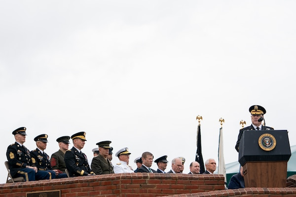 Army Gen. Mark A. Milley, 20th chairman of the Joint Chiefs of Staff, delivers remarks after being sworn in during an armed forces welcome ceremony at Summerall Field, Joint Base Myer-Henderson Hall, Va., Sept. 30, 2019.
