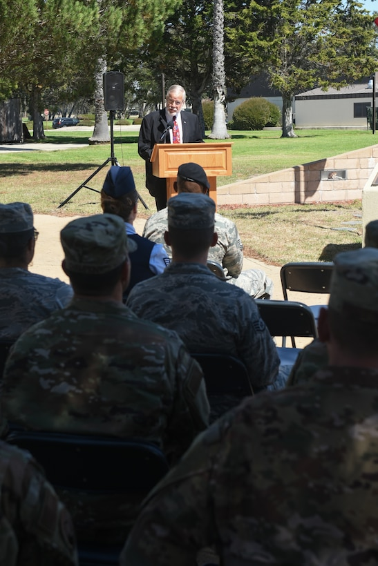 Bob Hatch, 30th Space Wing honorary commander, speaks during the POW/MIA Remembrance Week Closing Ceremony Sept. 20, 2019, Vandenberg Air Force Base, Calif. The closing ceremony was held on POW/MIA Recognition Day which is observed nationally on the third Friday in September. (U.S. Air Force Photo by Michael Peterson)