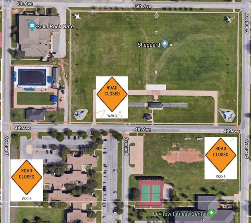 Street repairs will temporarily close down Fourth Avenue between Avenues and J on Oct. 16, 2019, at Sheppard Air Force Base, Texas. Motorists are asked to pay attention to construction signs and barriers during this one-day project. (U.S. Air Force graphic)
