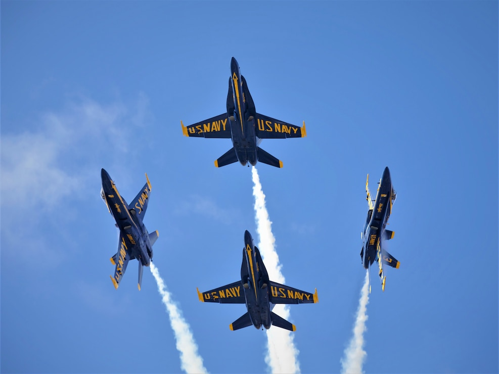 The U.S. Navy Blue Angels Jet Team demonstrate the capabilities of the F/A-18 Hornet at the 2019 Marine Corps Air Station Miramar Air Show on MCAS Miramar, Calif., Sept. 28. This year's air show honors first responders by featuring several performances and displays that highlight first responders and their accomplishments.