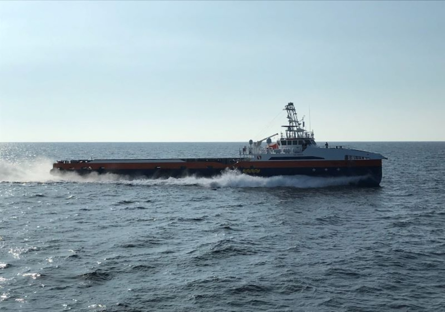 A Ghost Fleet Overlord test vessel takes part in a capstone demonstration during the conclusion of Phase I of the program in September.