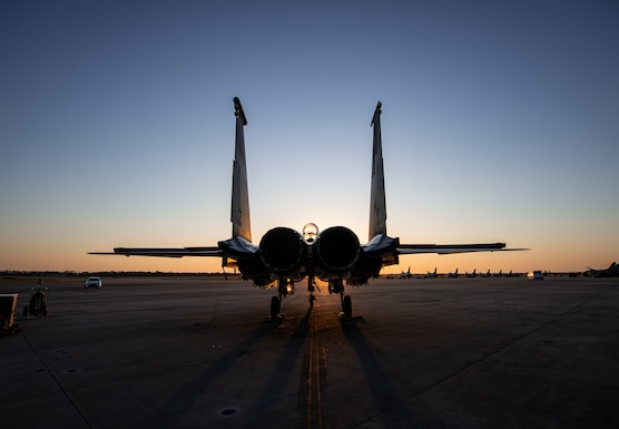 An F-15E Strike Eagle fighter jet assigned to the 422nd Test and Evaluation Squadron, Nellis Air Force Base, Nev., remains parked on the flightline during Combat Archer 19-12 on Tyndall AFB, Fla., Sept. 24, 2019. Combat Archer is the Department of Defense's largest air-to-air live fire missile employment exercise. (U.S. Air Force photo by Airman 1st Class Bailee A. Darbasie)