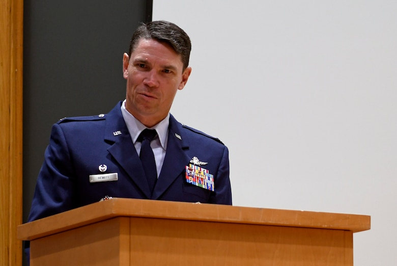 Col. James Hewitt, 318th Cyberspace Operations Group commander, welcomes attendees to the 318th Range Squadron activation ceremony at Joint Base San Antonio-Lackland, Texas, Oct. 1, 2019. Lt. Col. Peter Francik also assumed command during the ceremony. (U.S. Air Force photo by Tech. Sgt. R.J. Biermann)