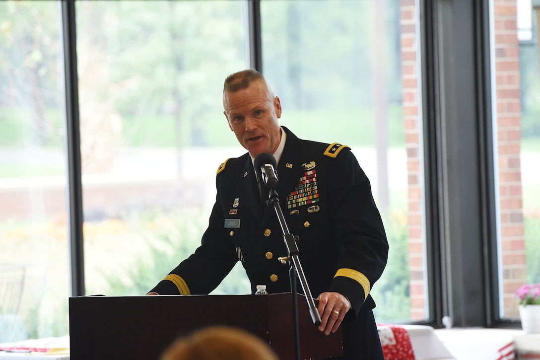 Lt. Gen. Thomas S. James Jr., Commanding General, First U.S. Army, and key note speaker, gives remarks during the Gold Star Mother's Day Luncheon at Cantigny Park in Wheaton, Illinois, September 29, 2019.