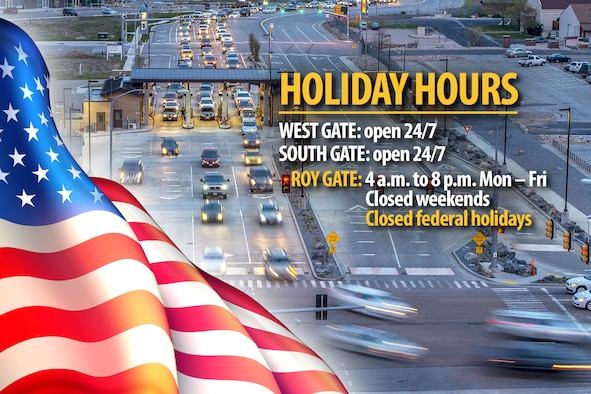 An illustration depicting Hill Air Force Base's West, South and Roy Gate hours for federal holidays. For Columbus Day on Monday, Oct. 14, 2019, the South Gate and West Gate will be open 24/7. The Roy Gate will be closed.