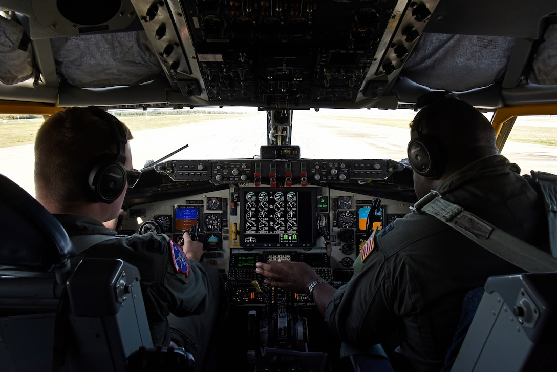 U.S. Air Force Capt. Ryan Turner, 93rd Air Refueling Squadron KC-135 Stratotanker pilot, and Capt. Ntungwe Sobe, 384th ARS KC-135 aircraft commander, prepare to take off at Eielson Air Force Base, Alaska, Aug. 30, 2019. The responsibility of an aircraft commander is earned through several hours of flying and training, and can take two to three years from when pilots first gain their wings. To become a pilot, students must understand the basics to theory of flight, air navigation, meteorology, aircraft operating procedures and mission tactics. (U.S. Air Force photo by Senior Airman Jesenia Landaverde)