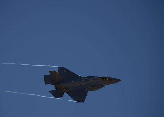 An F-35A Lightning II, assigned to the 56th Fighter Wing, performs a pass Oct. 1, 2019, at Luke Air Force Base, Ariz.