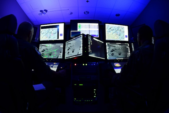 Remotely Piloted Aircraft aircrew fly simulated missions in an MQ-9 Reaper cockpit at Creech Air Force Base, Nevada, Sept. 4, 2019. The RPA mission is supported by Airmen in a variety of roles, including intelligence analysts, air traffic controllers and maintenance professionals. (U.S. Air Force photo by Senior Airman Haley Stevens)