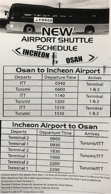 Bus schedules travelling from Osan Air Base, Republic of Korea to Icheon International Airport, and from Icheon to Osan AB.