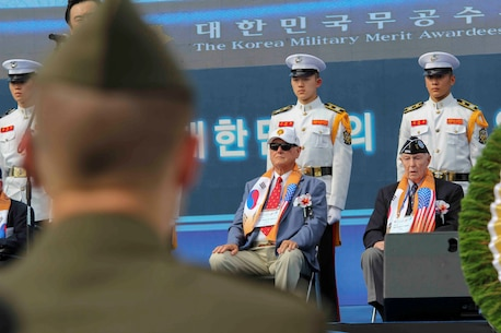 U.S. and Republic of Korea veterans attend the Changjin Campaign Commemoration Ceremony in Seoul Sept. 27. They were honored for their sacrifice and commitment to duty during the Changjin Campaign. The annual commemoration brings together U.S. and Korean veterans to remember and honor the heroes of the Changjin Campaign. (U.S. Marine Corps photo by Sgt. Parker Golz)