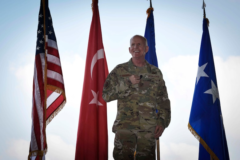 U.S. Air Force Vice Chief of Staff Stephen W. Wilson addresses Airmen during an all-call at Incirlik Air Base, Turkey, Sept. 30, 2019. Wilson toured facilities and spoke with Airmen about various topics including readiness, resiliency and the strategic importance of their mission. (U.S. Air Force photo by Staff Sgt. Joshua Magbanua)