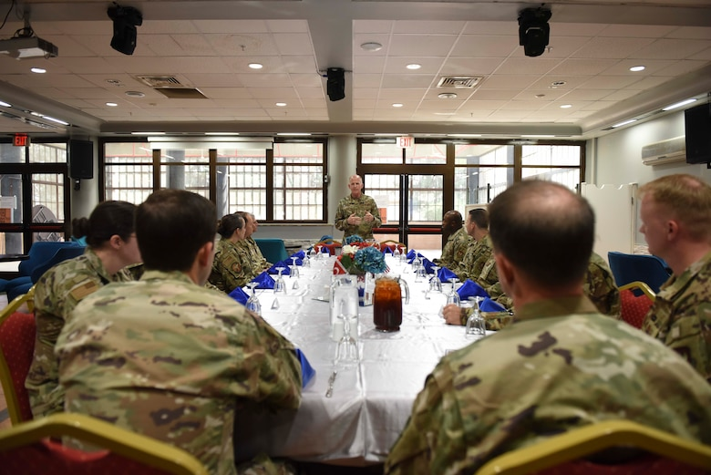 U.S. Air Force Vice Chief of Staff Stephen W. Wilson speaks during a luncheon with 39th Air Base Wing officials at Incirlik Air Base, Turkey, Sept. 29, 2019. Wilson met with the wing's leaders in order to gain insight on the mission readiness of U.S. Forces in the area of responsibility. (U.S. Air Force photo by Staff Sgt. Joshua Magbanua)