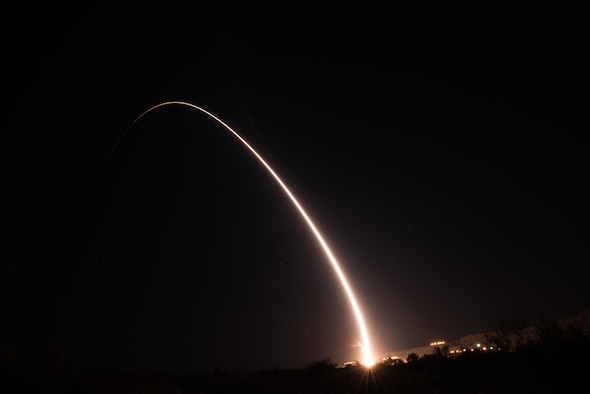 An unarmed Minuteman III intercontinental ballistic missile launches during an operational test at 1:13 a.m. Pacific Time Oct. 2, 2019, at Vandenberg Air Force Base, Calif. (U.S. Air Force photo by Michael Peterson)