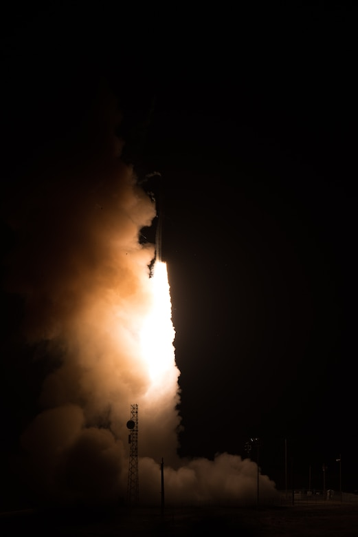 Photo of Minuteman III intercontinental ballistic missile launch from Vandenberg Air Force Base.