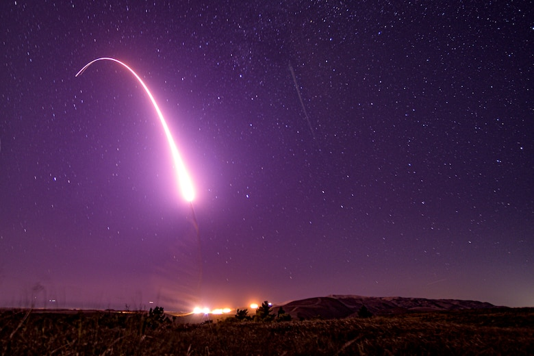 An unarmed Minuteman III intercontinental ballistic missile launches during an operational test at 1:13 a.m. Pacific Time, Oct. 2, 2019, at Vandenberg Air Force Base, Calif. The test demonstrates the United States' nuclear deterrent is robust, flexible, ready and approximately tailored to deter twenty-first century threats and reassure our allies. (U.S. Air Force Photo by Staff Sgt. J.T. Armstrong)