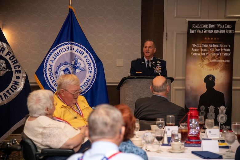 Air Force Chief of Staff Gen. David L. Goldfein addresses Security Forces Defenders, past and present, at the 33rd Air Force Security Forces Association national meeting banquet in San Antonio Sept. 28.9, in San Antonio, Texas.