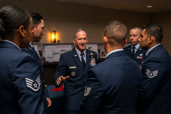 Air Force Chief of Staff Gen. David L. Goldfein speaks to members of the 343rd Training Squadron who made up the honor guard at the Air Force Security Forces Association banquet Sept. 28, 2019, in San Antonio, Texas.