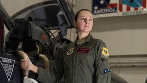 First Lt. Lacey Orians, a pilot assigned to the 13th Bomb Squadron, poses for a portrait on Feb. 19, 2019, at Whiteman Air Force Base, Missouri. Orians is the newest addition to the elite group of six female pilots stationed at Whiteman. (U.S. Air Force photo by Staff Sgt. Kayla White)